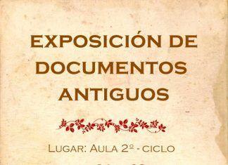 Cartel exposición de documentos comerciales antiguos