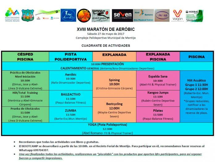 Cuadrante de Actividades XVIII Maratón de Aeróbic 2017