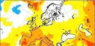Mapa de probabilidad de que el verano sea muy cálido en Extremadura