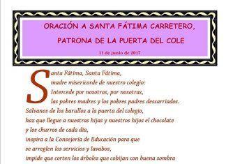 Oración-homenaje a Fátima Carretero, presidenta de la AMPA del del CEIP Príncipe de Asturias de Montijo