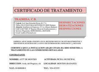 Certificado de tratamiento en la Piscina Municipal de Montijo