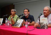 Alonso Rodríguez Gómez, José Manuel Guerrero y Juan Carlos Molano en la presentación del libro Las antiguas huertas de Montijo