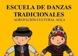 Cartel de la Escuela de Danzas Tradicionales de la Agrupación Cultural Agla de Montijo