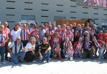 Socios de la Peña Atlético de Madrid de Montijo en la inauguración del nuevo Estadio del Club Atlético de Madrid Wanda Metropolitano