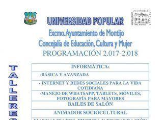 Programación de los cursos de la Universidad Popular de Montijo