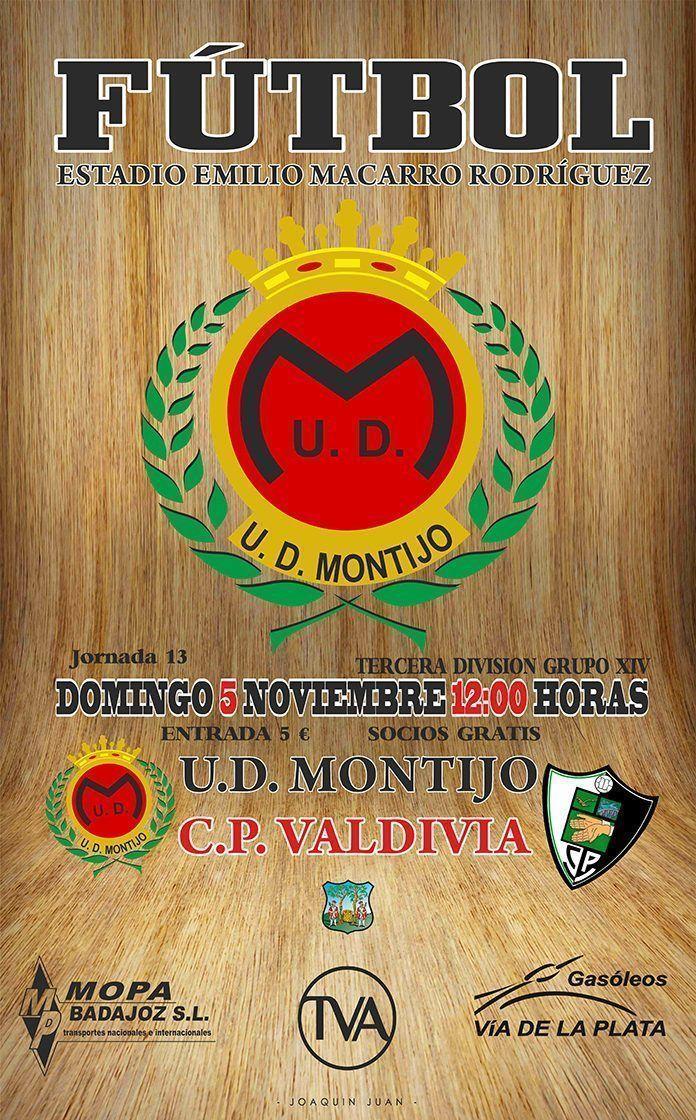 Cartel del encuentro entre el UD Montijo y el CP Valdivia