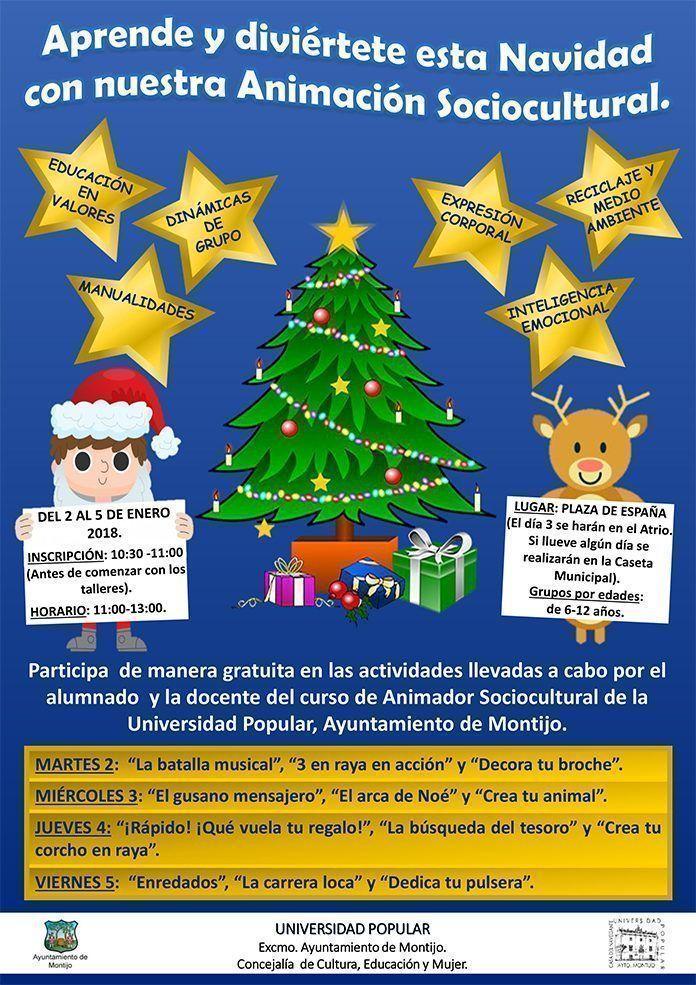 Cartel de talleres y dinámicas Navideñas del Curso Animador Sociocultural de la Universidad Popular del Ayuntamiento de Montijo