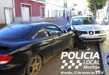 Aparatoso accidente en Montijo (foto Facebook / Policía Local de Montijo)