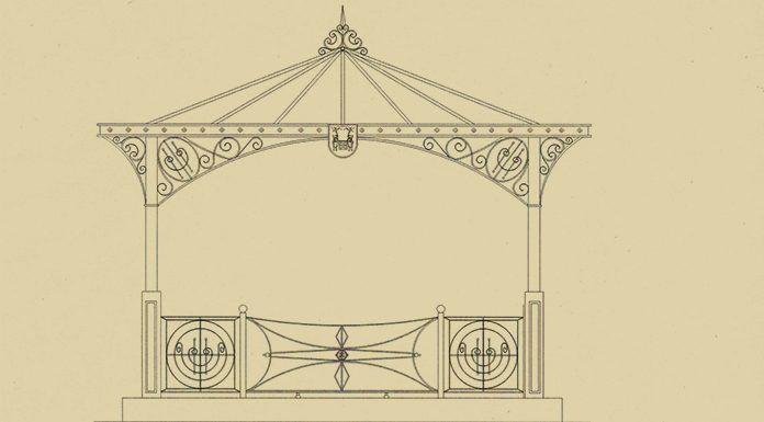 Diseño del futuro quiosco de la Plaza de España de Montijo, obra del artesano montijano Vicente Gragera