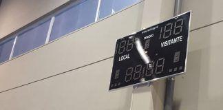 Nuevo marcador del Pabellón Polideportivo ''El Valle'' de Montijo