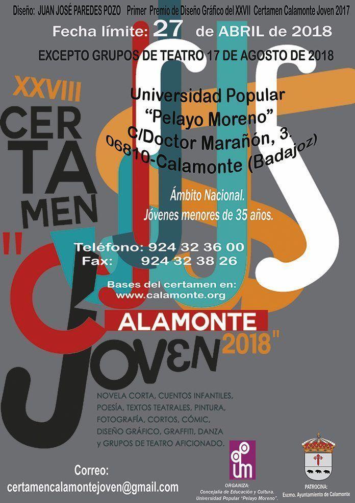 Cartel del XXVIII Certamen Calamonte Joven 2018