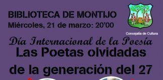 Cartel del Homenaje a las poetas de la Generación del 27 en la Biblioteca de Montijo