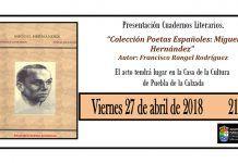 Cartel de la presentación del cuaderno literario sobre la figura del poeta Miguel Hernández