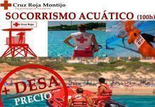 Cartel del curso de formación en primeros auxilios y socorrismo acuático de Cruz Roja Montijo