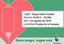 Cartel donación de sangre en Puebla de la Calzada