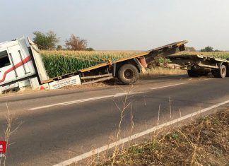 Accidente de un camión en Montijo