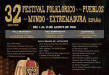 Cartel del XXXII Edición del Festival Folklórico de los pueblos del mundo de Extremadura
