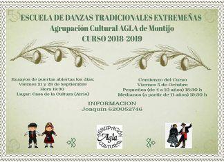 Cartel del curso 2018:19 de la Escuela de Danzas Tradionales Extremeñas de la Agrupación Cultural AGLA