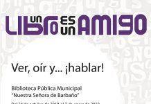 """Cartel de la Exposición """"¡Ver, oír y... ¡hablar!"""" en la Biblioteca de Montijo"""