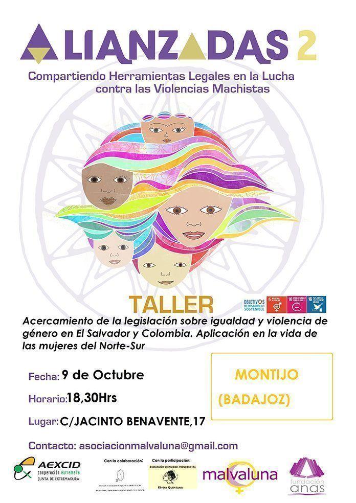 Cartel segundo taller de Alianzadas en Montijo