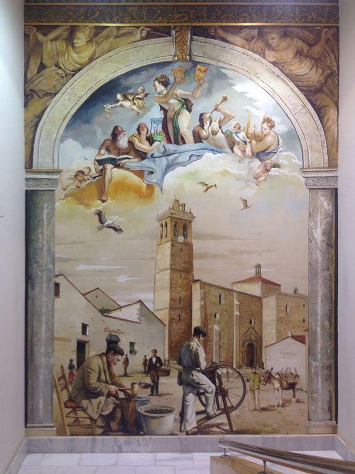 Uno de los murales que ha realizado Alberto Pirrongelli en el Teatro Nuevo Calderón de Montijo