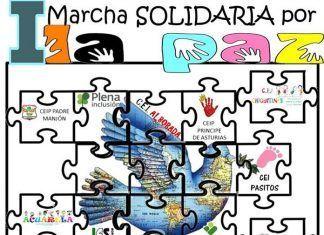 Cartel I marcha solidaria por la paz en Montijo