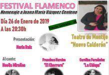"""Cartel festival de flamenco en homenaje a Juana María Vázquez, presidenta de la asociación """"Llamando a la puerta de la esperanza"""""""