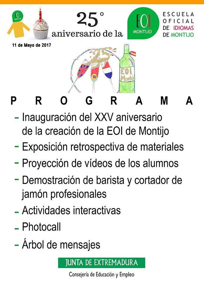 Programa XXV Aniversario de la Escuela Oficial de Idiomas de Montijo