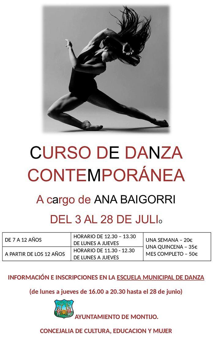 Cartel de Curso de Danza Contemporánea en Montijo