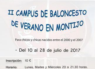 Cartel del II Campus de Baloncesto de Verano en Montijo