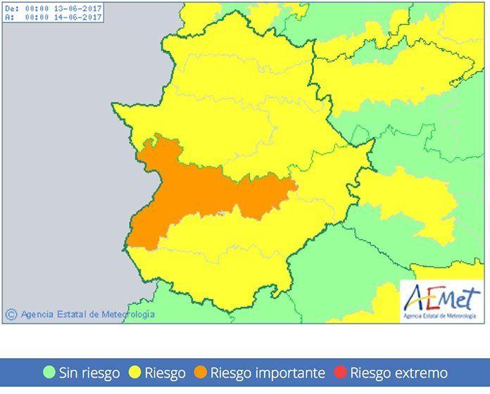 Martes 13 de junio Alerta naranja por altas temperaturas en las Vegas del Guadiana