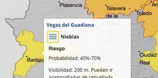 Alerta amarilla en las Vegas Bajas por nieblas