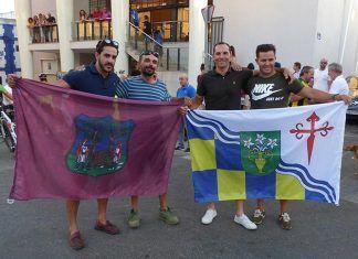 fotos Barbaño-Montijo a Roma: Luis Ignacio Barril Iglesias y David Pascual Piñero y su equipo de apoyo a su llegada a Montijo