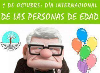 Cartel del Día Internacional de las Personas de Edad en el IES María Josefa Baraínca de Valdelacalzada