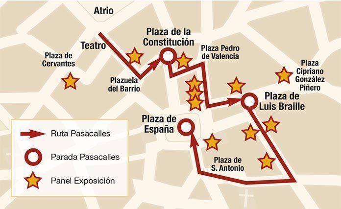 Recorrido del pasacalles y ubicación de la exposición Semana de Película en Montijo