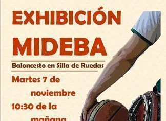 Cartel de exhibición de baloncesto en silla de ruedas de MIDEBA