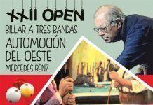 Cartel del XXII Open Automoción del Oeste Mercedes-Benz, que se disputara en el Club Billar Montijo
