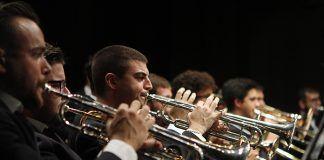 Trompetistas de la Banda de Música Andrés Mena en el Concierto para nuestros mayores en el Teatro de Montijo