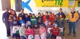 Alumnos de primaria de los colegios de Puebla de la Calzada asistentea a una charla difusión del Centro de Emergencias 112 Extremadura