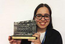 """La montijana Andrea Alonso Casado con el """"Premio al Mejor Corto Extremeño"""" del VI Festival Profesional Plasencia Encorto"""