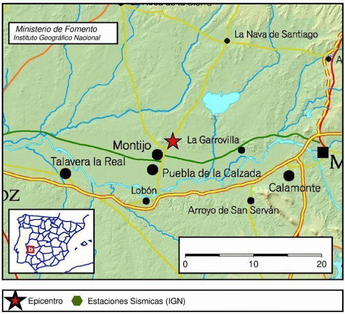 Movimiento sísmico en Montijo.