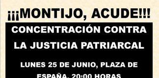 Cartel de la concentración contra la justicia patriarcal en Montijo