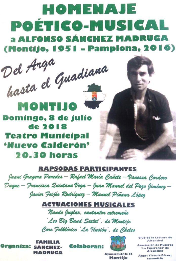 Cartel Homenaje a Alfonso Sánchez Madruga en Montijo