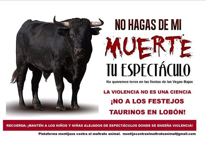 La Plataforma montijana contra el maltrato animal protesta por los festejos taurinos en Lobón