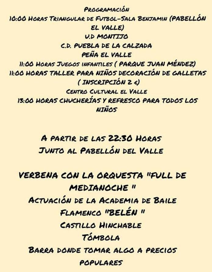 Programa Fiesta de la Barriada del Valle 2018