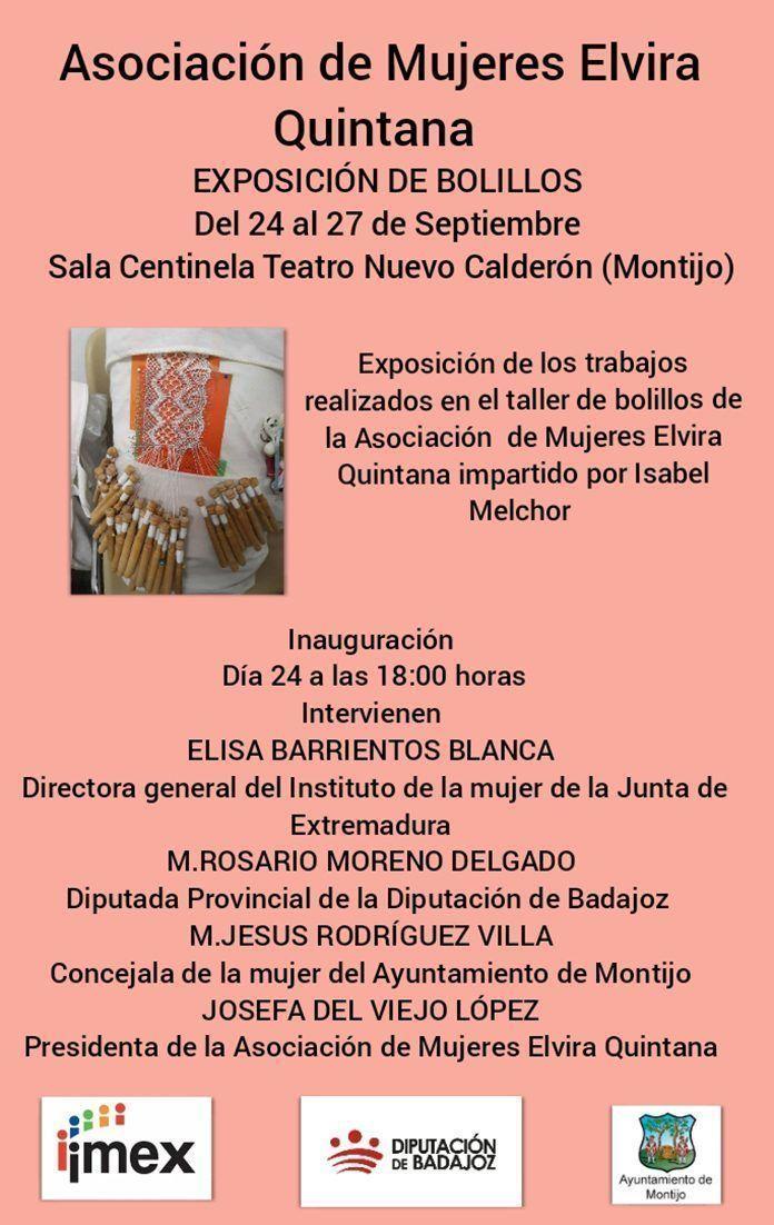Cartel de la exposición de bolillos y presentación de actividades de la Asociación de Mujeres Progresistas Elvira Quintana de Montijo