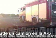 Arde un camión en la A-5 a la altura de Talavera la Real