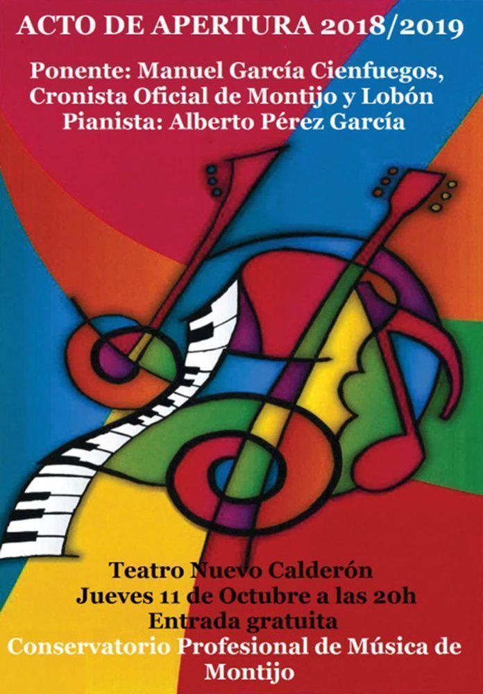 Cartel del Acto de Apertura del Curso Académico 2018:2019 del Conservatorio de Montijo