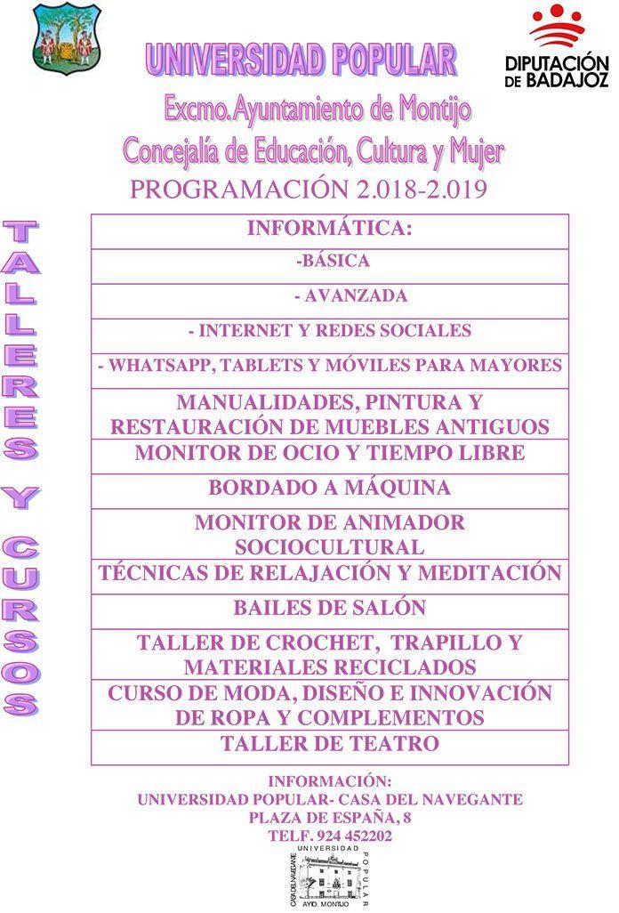 Programación de Cursos y Talleres 2018-2019 de la Universidad Popular de Montijo