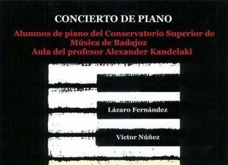 Cartel concierto de piano los alumnos del aula del profesor Alexander Kandelaki del Consevatorio de Montijo